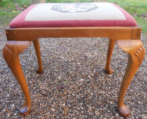 Queen Anne Style Walnut Dressing Stool